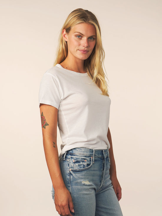 women's cotton cashmere tee - white