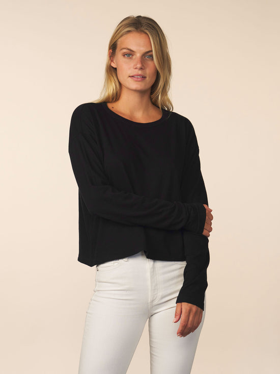 women's cotton cashmere long sleeve - black