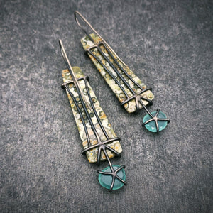 Theia Earrings: Ocean Jasper and Aquaprase