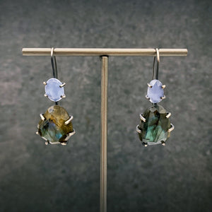 Theia Earring: Labradorite and Chalcedony