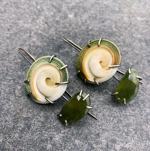 Theia: Rams Horn Snail Shells and Green Sapphire