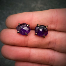 Load image into Gallery viewer, Gemstone Studs: Amethyst