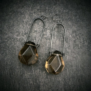 Uruz Earrings with Smokey Quartz