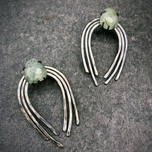 Load image into Gallery viewer, Large Valkyrie Earrings in Silver with Prehnite