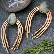 Load image into Gallery viewer, Valkyrie Earrings in Bronze with Prehnite