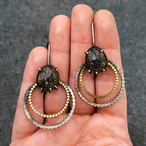 Juno Earring: Tourmalated Quartz with 14k gold fill