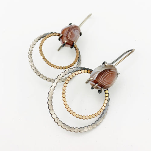 Juno Earring: Botswana Agate with 14k gold fill