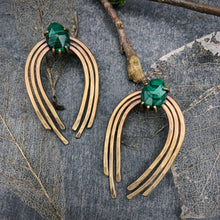 Load image into Gallery viewer, Valkyrie Earrings in Bronze with Malachite