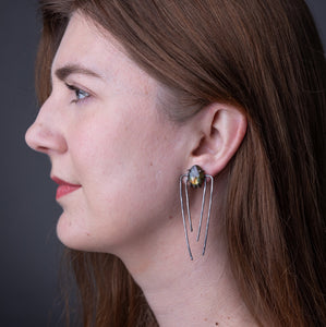 Talon Earrings in Silver with Serpentine