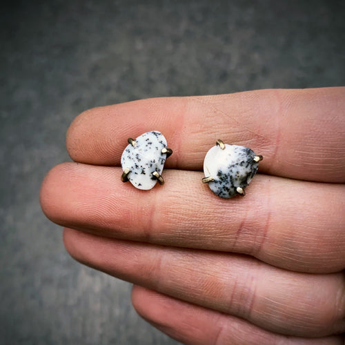 Gemstone Studs: Dendritic Opal