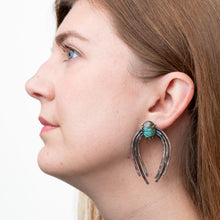 Load image into Gallery viewer, Large Valkyrie Earrings in Silver with Crazy Lace Agate