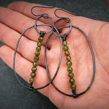 Load image into Gallery viewer, Green Garnet and Silver Wanderer Earrings