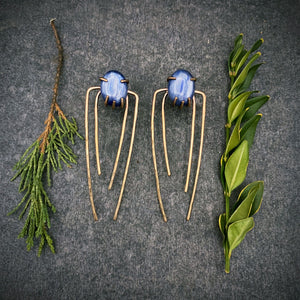 Talon Earrings in Bronze with Kyanite