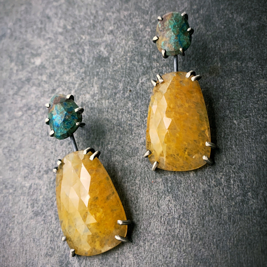 Theia Earrings: Yellow Sapphire and Azurite