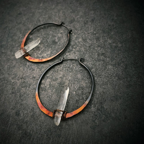 Quartz Ombre Copper Hoops
