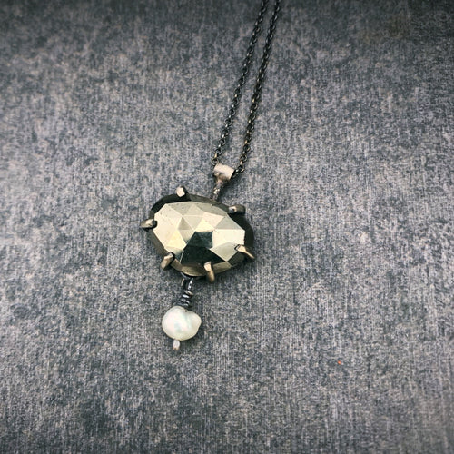 Gemstone Necklace: Pyrite with Freshwater Pearl
