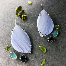 Load image into Gallery viewer, Theia Earrings: Blue Lace Agate with Iolite, Aquaprase, and Idocrase