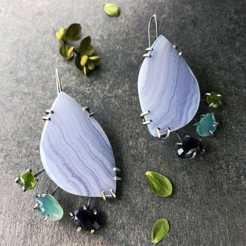Theia Earrings: Blue Lace Agate with Iolite, Aquaprase, and Idocrase