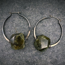 Load image into Gallery viewer, Green Garnet Silver Hoops