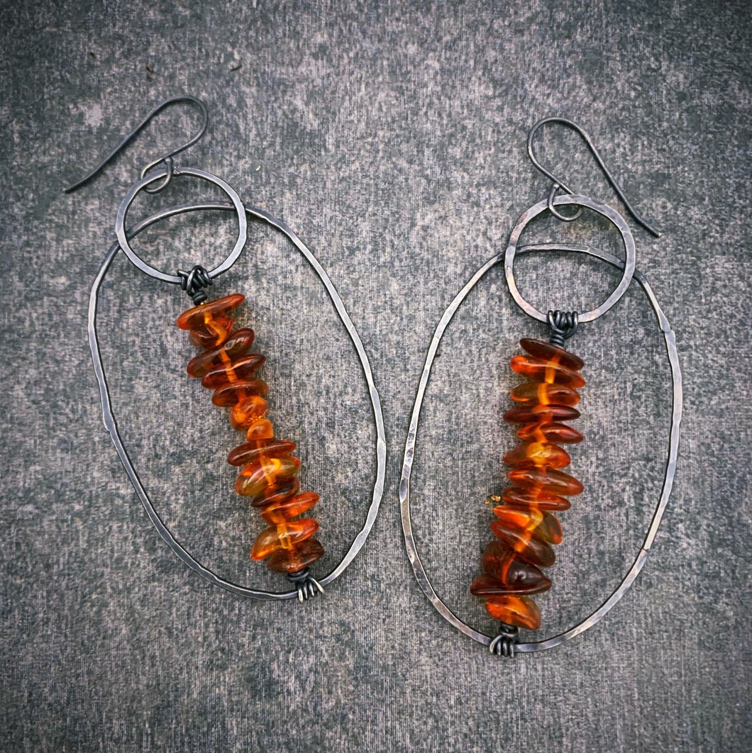 Amber and Silver Wanderer Earrings