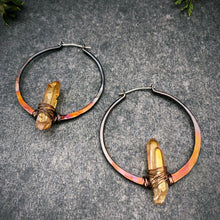 Load image into Gallery viewer, Aura Quartz Ombre Copper Hoops
