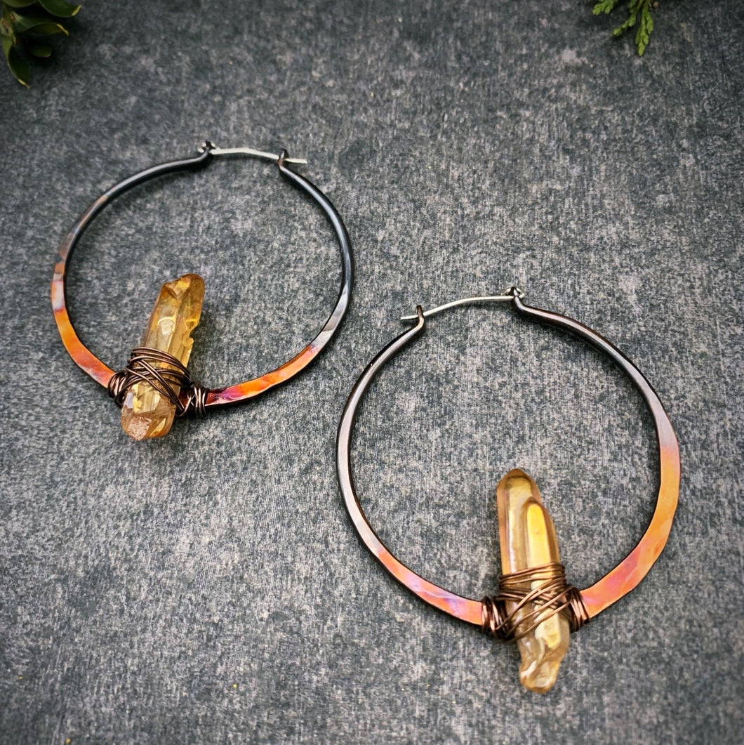 Aura Quartz Ombre Copper Hoops