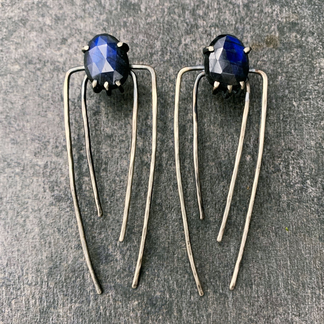Talon Earrings in Silver with Labradorite