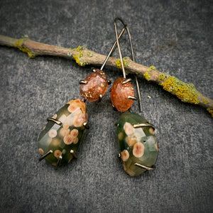 Theia Earring: Ocean Jasper and Sunstone