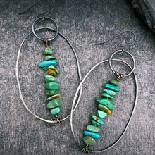Load image into Gallery viewer, Turquoise and Silver Wanderer Earrings - Blues