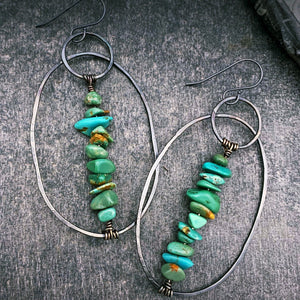 Turquoise and Silver Wanderer Earrings - Blues