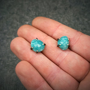 Gemstone Studs: Amazonite