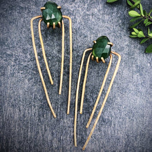 Load image into Gallery viewer, Talon Earrings in Bronze with Serpentine