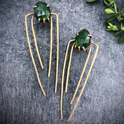 Talon Earrings in Bronze with Serpentine