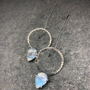 Luna Earring: Rainbow Moonstone