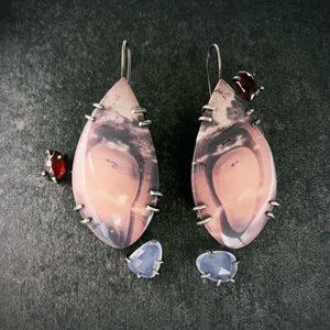 Theia Earrings: Porcelain Jasper, Garnet and lavender Chalcedony