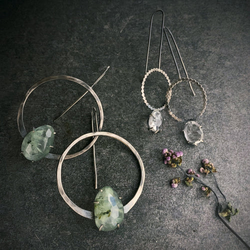 Ana Earring: Prehnite with Epidote