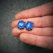 Load image into Gallery viewer, Celeste Gemstone Studs: Chalcedony