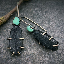 Load image into Gallery viewer, Theia Earring: Agate Druzy with New Lander Turquoise