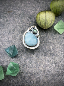 Aquamarine and Labradorite Ring