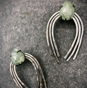 Large Valkyrie Earrings in Silver with Prehnite