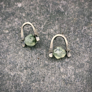 Arc Earrings with Prehnite