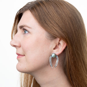 Valkyrie Earrings in Silver with Labradorite