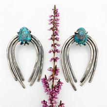 Load image into Gallery viewer, Valkyrie Earrings in Silver with Azurite