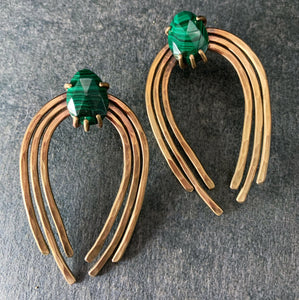 Valkyrie Earrings in Bronze with Malachite