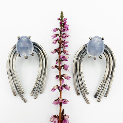 Valkyrie Earrings in Silver with Blue Chalcedony