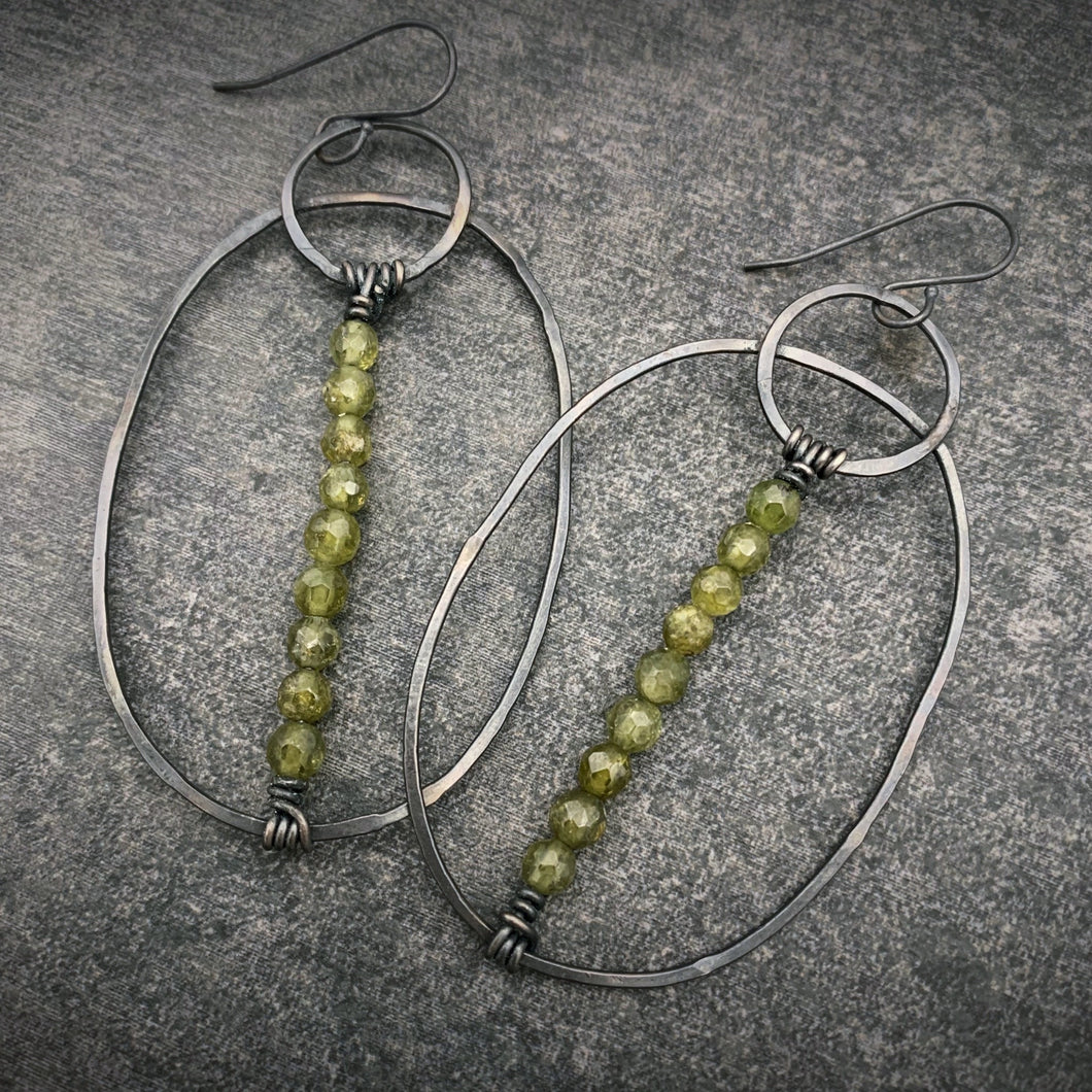Green Garnet and Silver Wanderer Earrings
