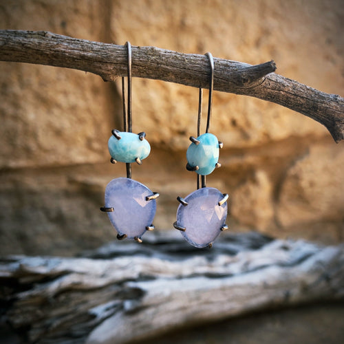 Theia Earring: Blue Chalcedony and Larimar