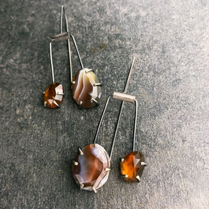 Duo Theia: Botswana Agate and Hessonite Garnet