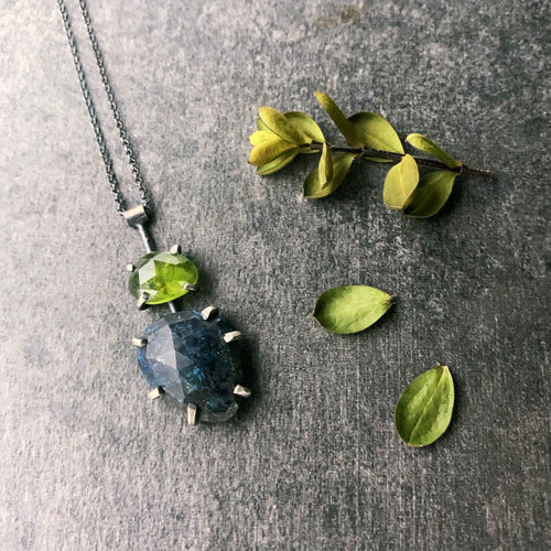 Gemstone Necklace: Azurite with Idocrase