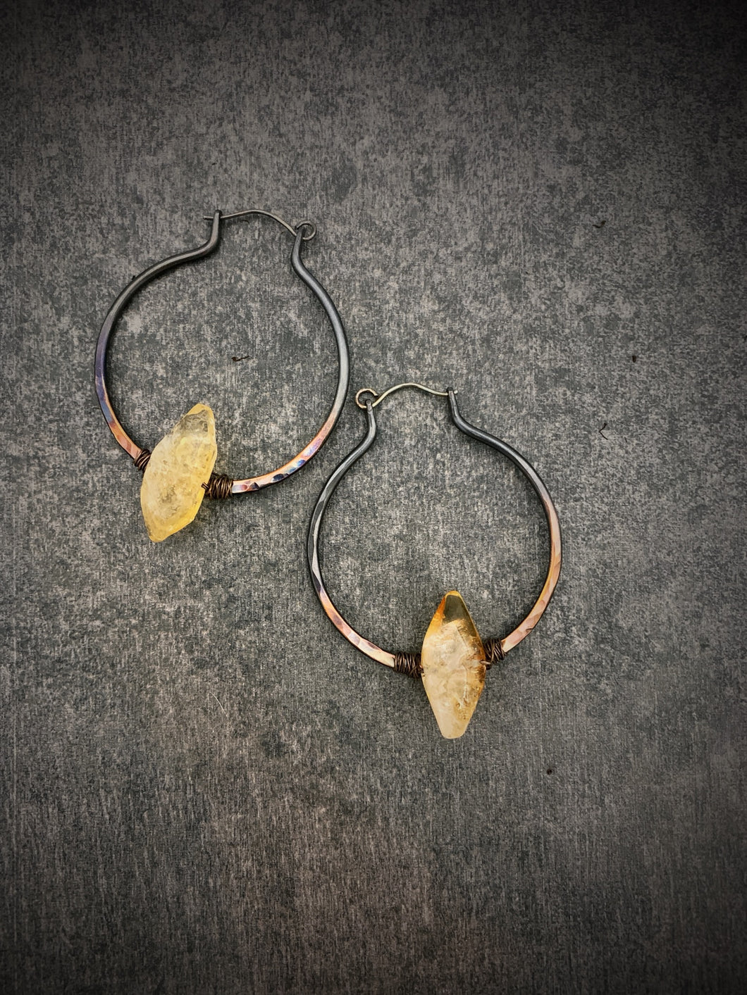 Citrine Ombre Copper Hoops
